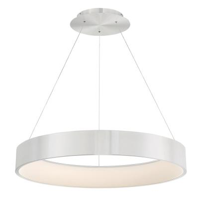 Corso 32 in. 750-Watt Equivalent Integrated LED Brushed Aluminum Pendant with PC Shade