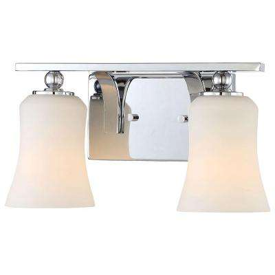 2-Light Chrome Square Bath Vanity Light with Etched White Glass