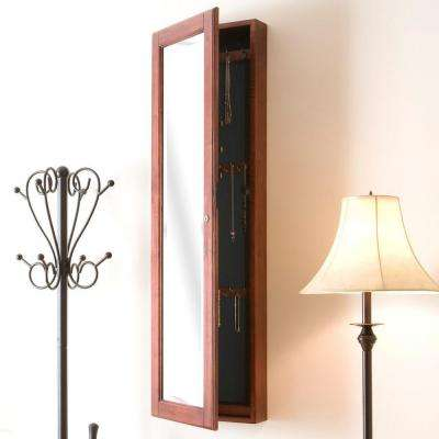48-1/4 in. x 14-1/2 in. Wall-Mounted Jewelry Armoire with Mirror in Cherry