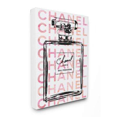 "16 in. x 20 in. ""Glam Perfume Bottle With Words Pink Black"" by Amanda Greenwood Printed Canvas Wall Art"
