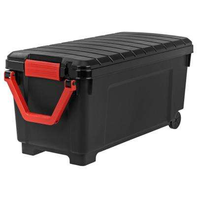 169 Qt. Store-It-All Tote Storage Bin in Black  sc 1 st  Home Depot : plastic rolling storage bins  - Aquiesqueretaro.Com