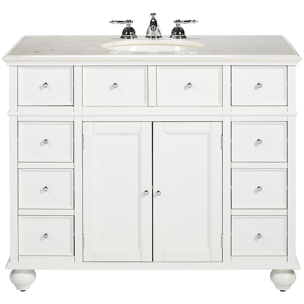 Hampton Harbor 44 in. W x 22 in. D Bath Vanity in White with Natural Marble Vanity Top in White