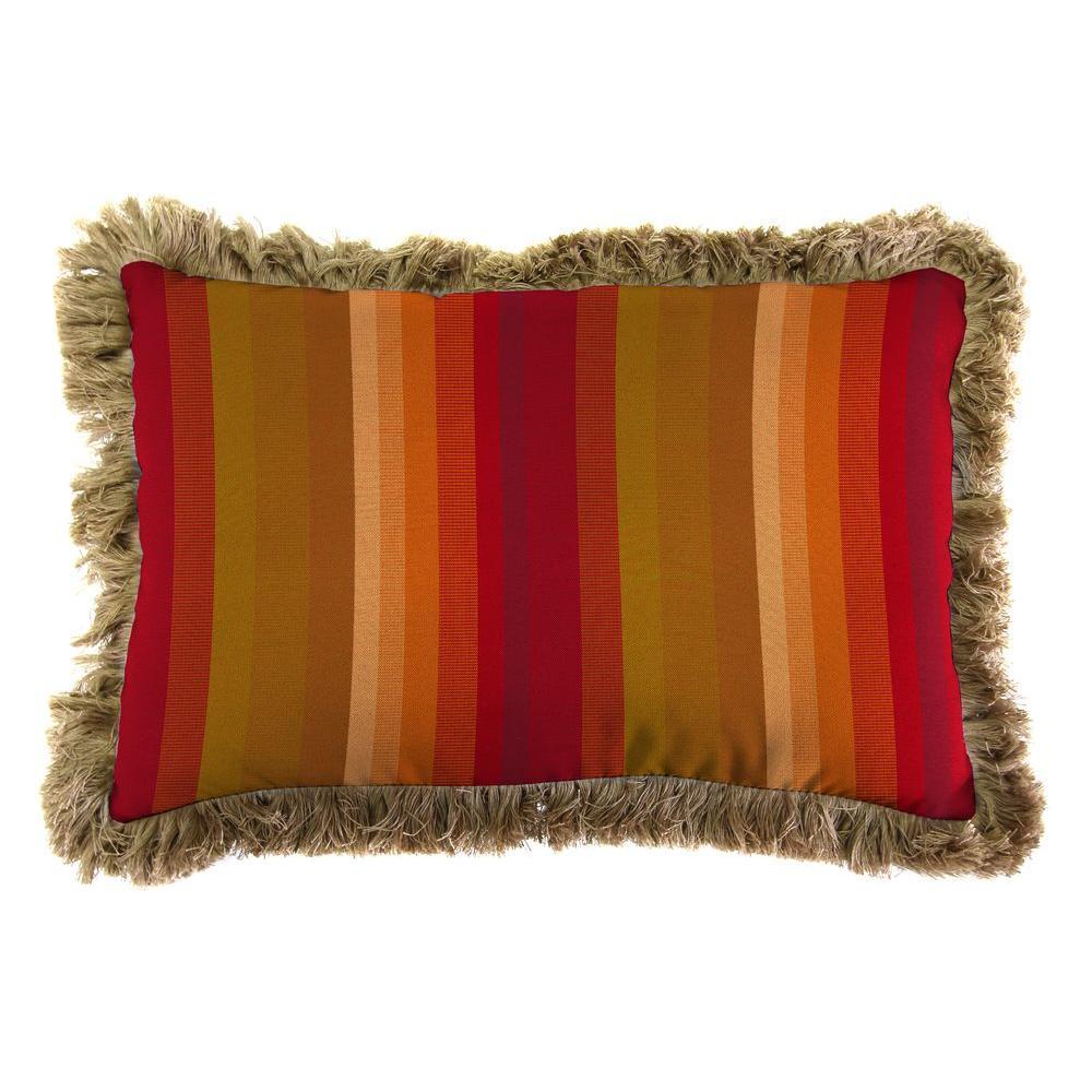 Sunbrella 19 in. x 12 in. Astoria Sunset Lumbar Outdoor Throw Pillow with Heather Beige Fringe
