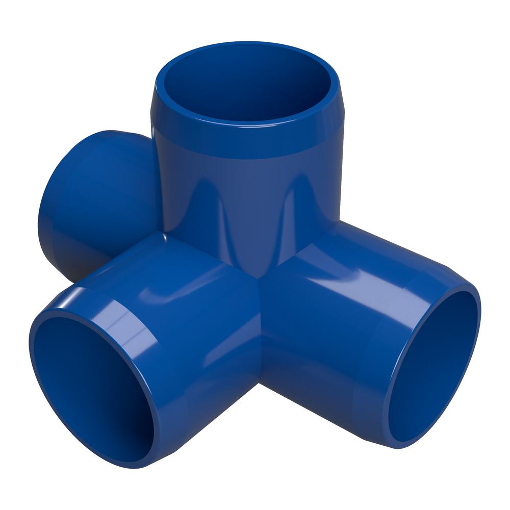 Furniture Grade Pvc 4 Way Tee In Blue Pack