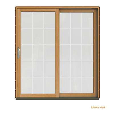 72 in. x 80 in. W-2500 Contemporary Red Clad Wood Right-Hand 15 Lite Sliding Patio Door w/Stained Interior