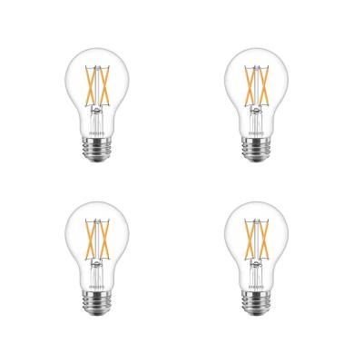 60-Watt Equivalent A19 Dimmable with Warm Glow Dimming Effect Clear Glass LED Light Bulb Soft White (2700K) (4-Pack)