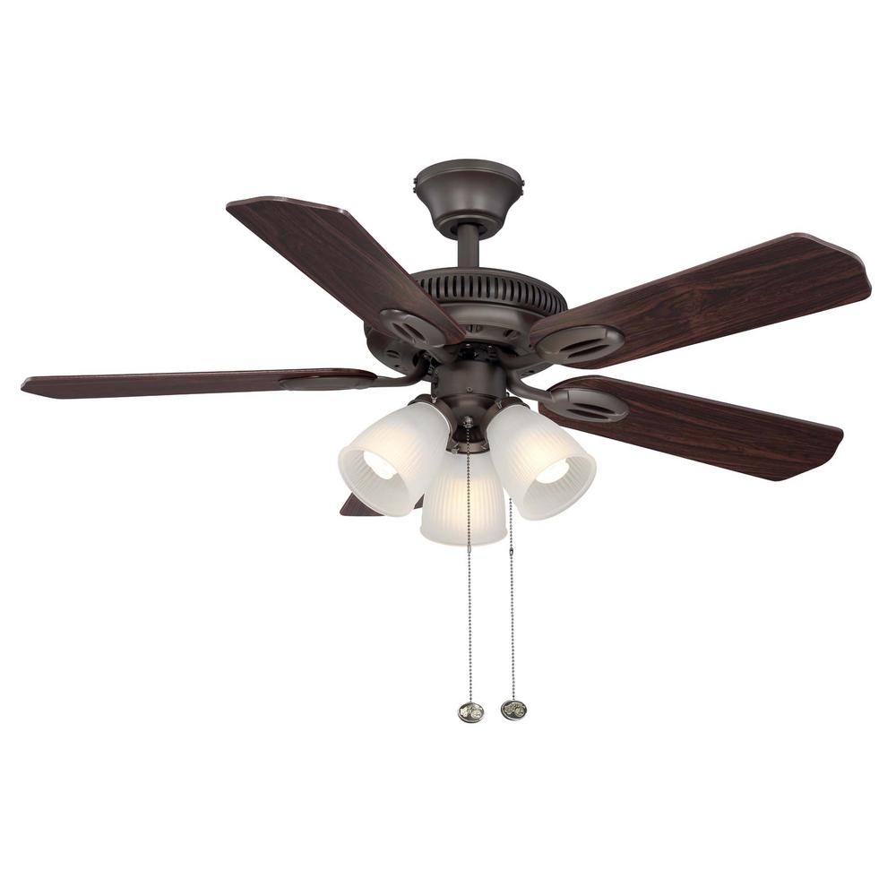 Hampton Bay Glendale 42 In Indoor Oil Rubbed Bronze Ceiling Fan With Light Kit Am212 Orb The