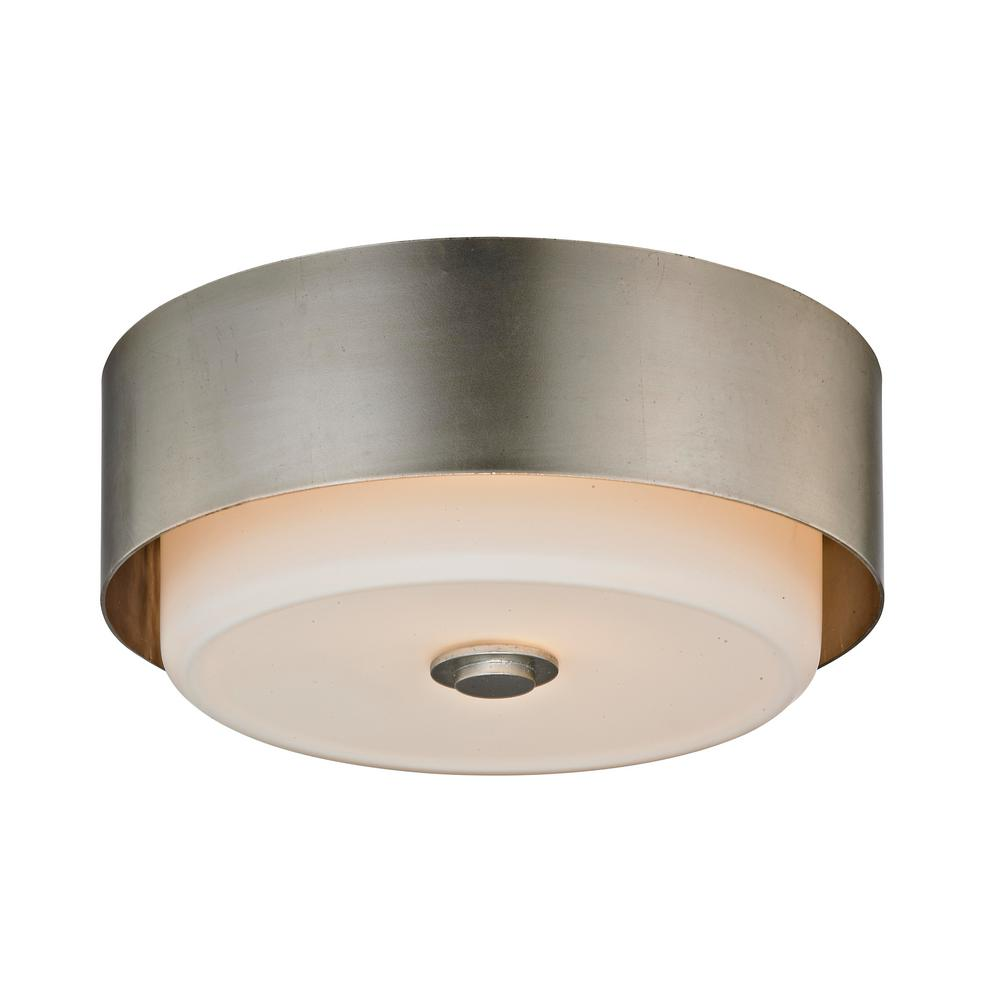 Allure 2-Light Silver Leaf Round Flushmount with Opal White Glass Shade