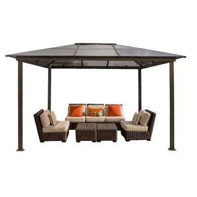 Paragon-Outdoor 13.2 ft. W x 9.11 ft. D x 9.2 ft. H Louvered Roof Madrid Gazebo