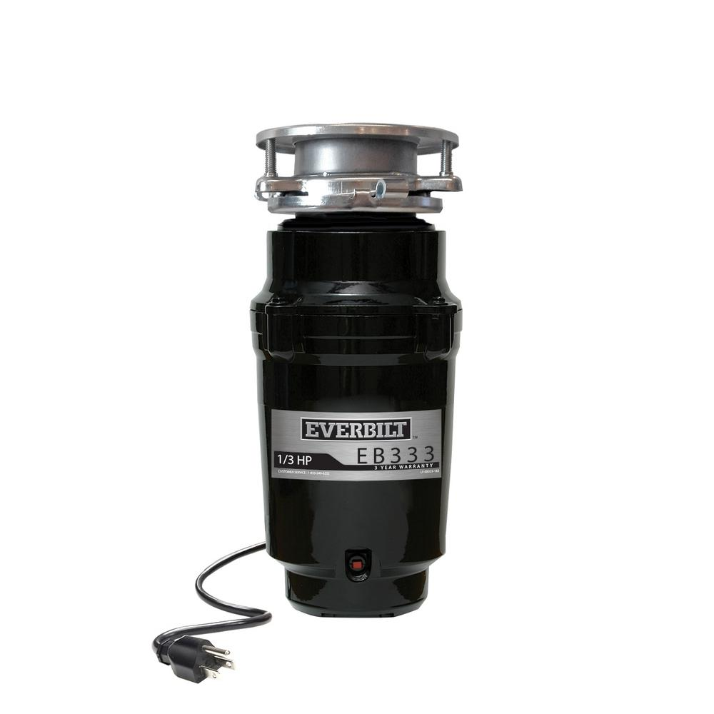 Everbilt 1/3 HP Continuous Feed Garbage Disposal with Stainless Steel Sink  Flange and Attached Power Cord