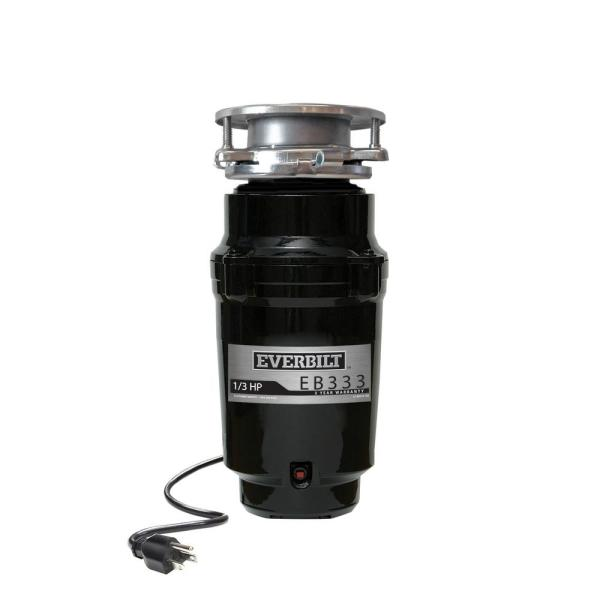 1/3 HP Continuous Feed Garbage Disposal with Stainless Steel Sink Flange and Attached Power Cord