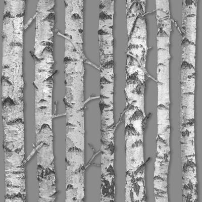 Merman Grey Birch Tree Paper Strippable Wallpaper (Covers 56.4 sq. ft.)