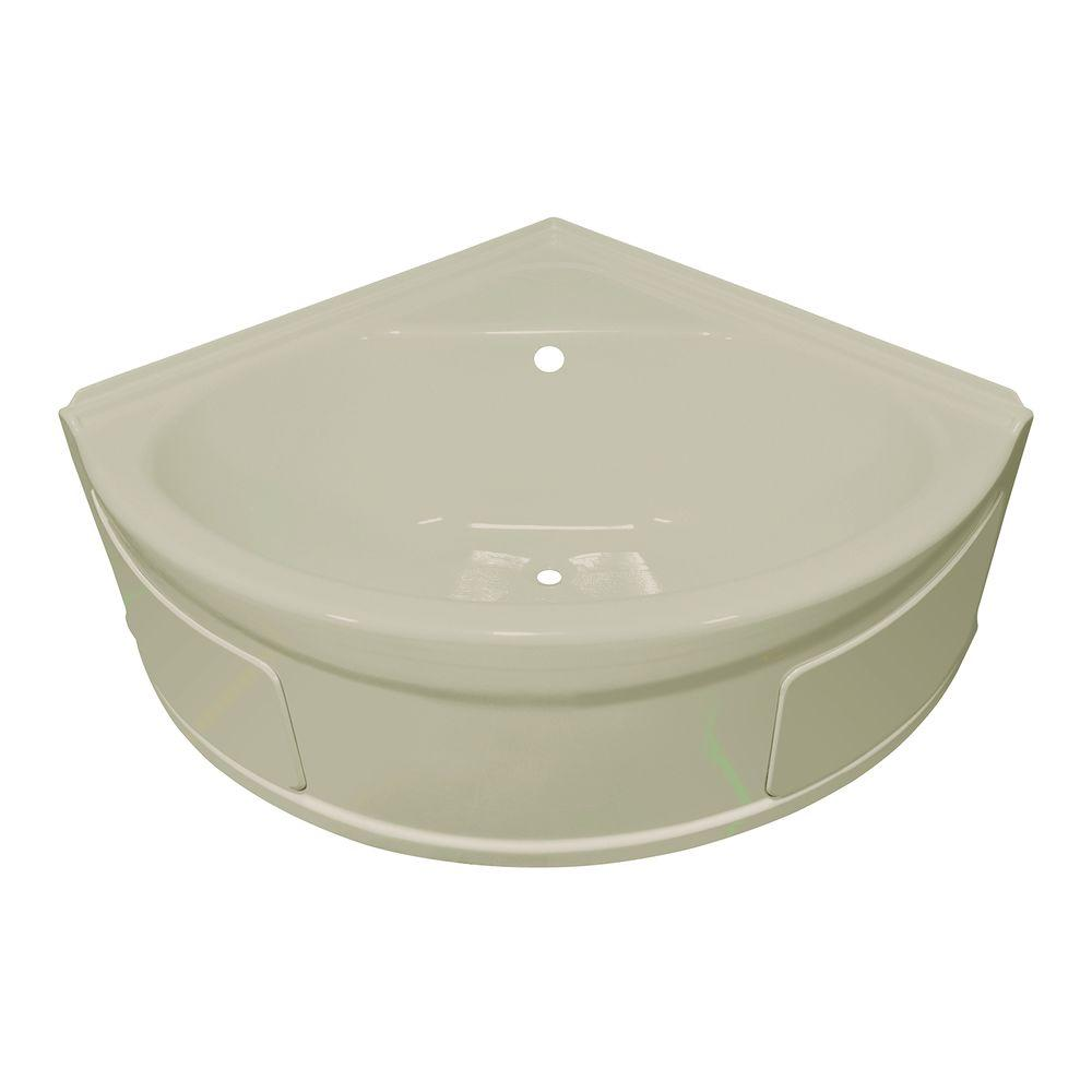 Lyons Industries Sea Wave 4 ft. Heated Center Drain Soaking Tub in Biscuit