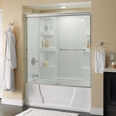 Portman 60 in. x 58-1/8 in. Semi-Frameless Traditional Sliding Bathtub Door in Chrome with Clear Glass