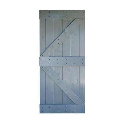 36 in. x 84 in. K Series DIY Dark Grey Finished Knotty Pine Wood Barn Door