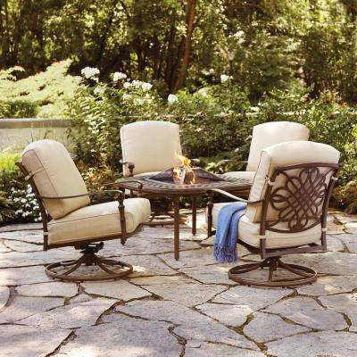 Superbe Cavasso 5 Piece Aluminum Outdoor Patio Fire Pit Conversation Set With  Oatmeal Cushions