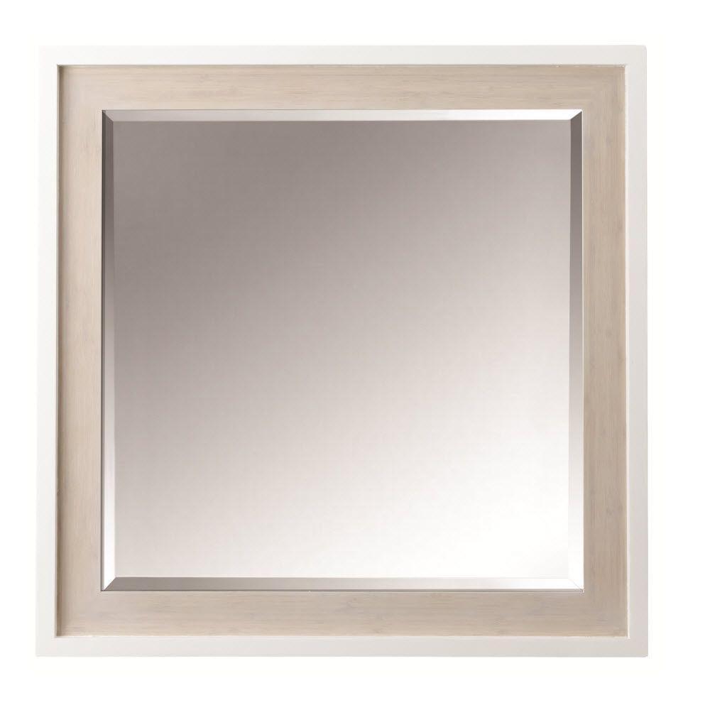 Melbourne 30 in. W x 30 in. H Single Wall Mirror in White Oak