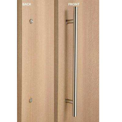 Ladder Style 32 in. x 1 in. Single-Sided Brushed Satin Stainless Steel Door Pull Handle with Decorative Fixing