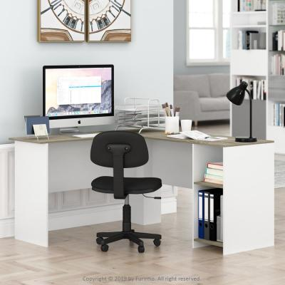 54 in. L-Shaped Natural/White Computer Desk with Shelves