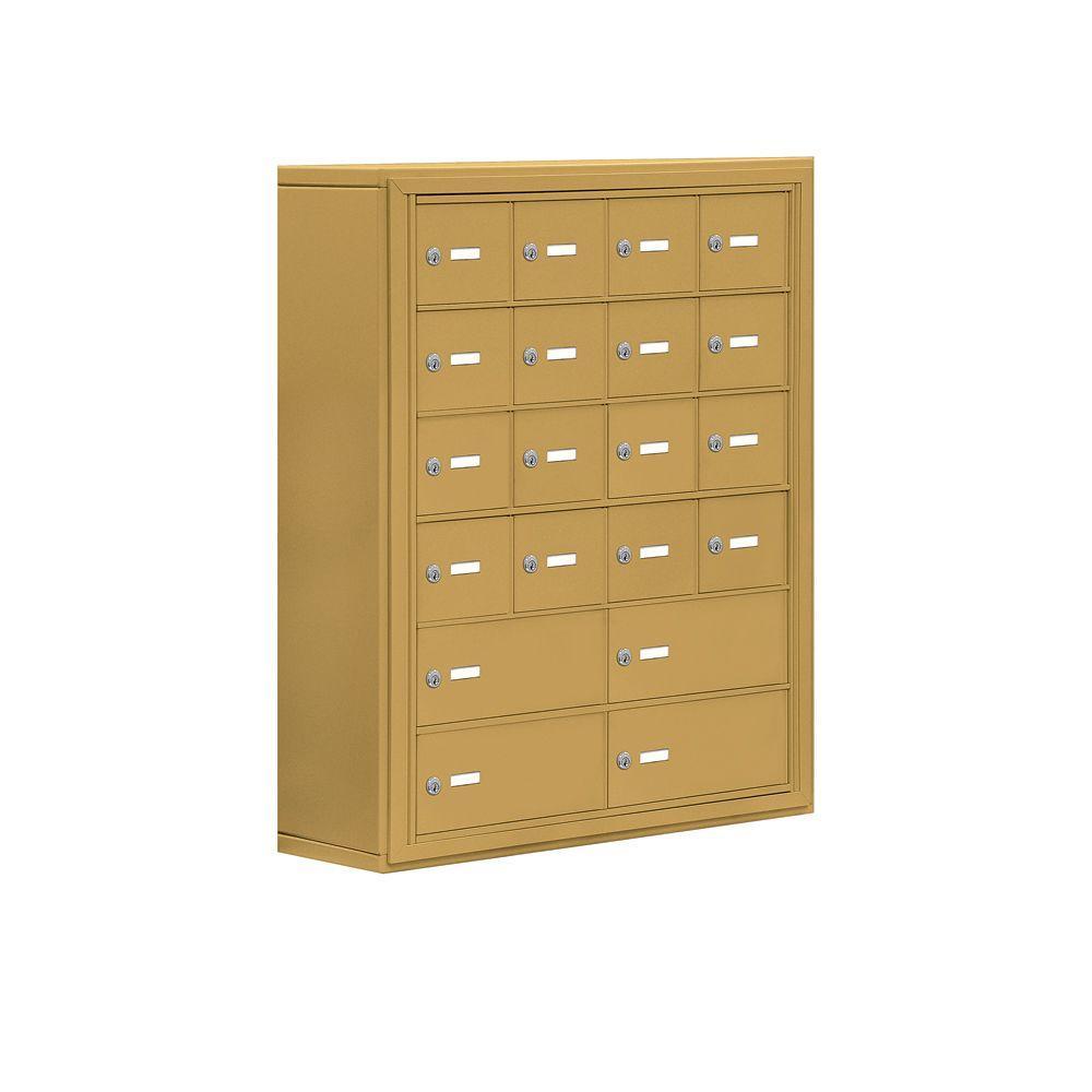 Salsbury Industries 19000 Series 30.5 in. W x 36.5 in. H x 9.25 in. D 16 A/4 B Doors S-Mount Keyed Locks Cell Phone Locker in Gold