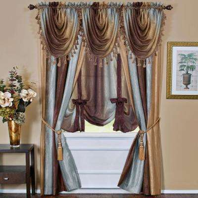 Semi-Opaque Ombre Waterfall 42 in. L Polyester Valance in Chocolate