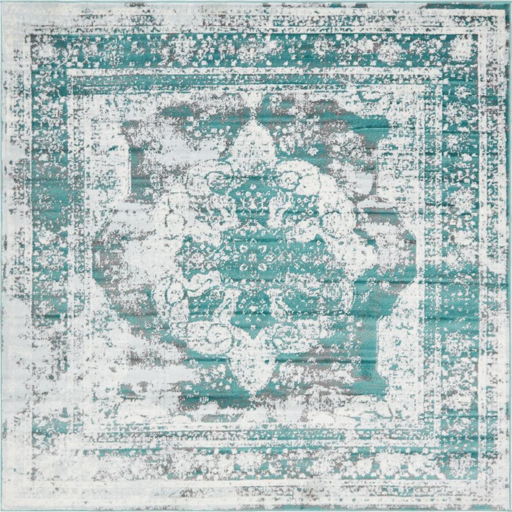 Sofia Salle Garnier Turquoise 8' 0 x 8' 0 Square Rug