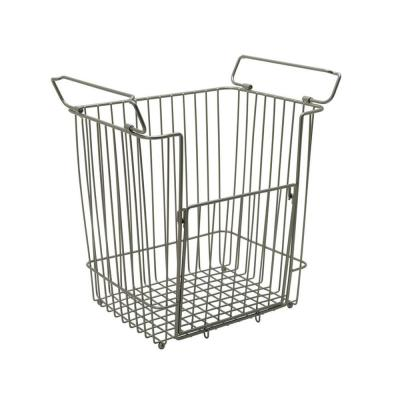 Large Stacking Basket in Satin Nickel