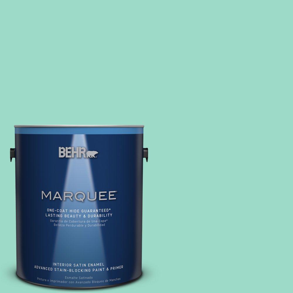 1 gal. #HDC-SP16-07 Isabella's Aqua Satin Enamel Interior Paint