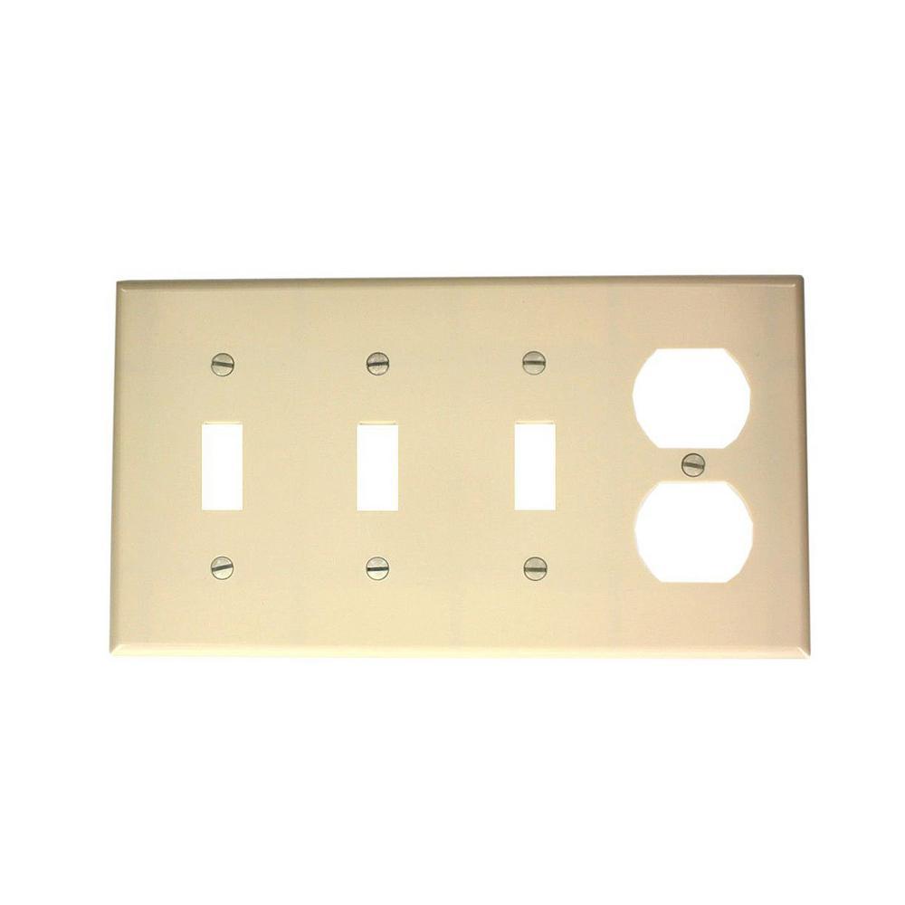 Light Leviton P326-T 4-Gang 3-Toggle 1-Decora//GFCI Device Combination Wallplate