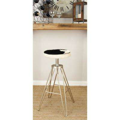 31 in. White Leather Hide Bar Stool
