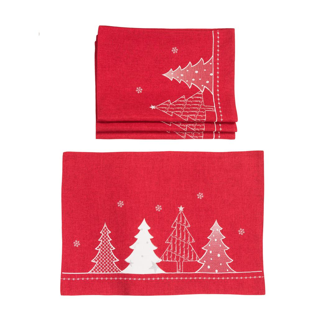 Xia Home Fashions 0.1 in. H x 20 in. W x 14 in. D Lovely Christmas Tree Embroidered Double Layer Placemats in Red (Set of 4)