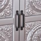 Noble House Silver 2-Door Cabinet with Navy Blue Top