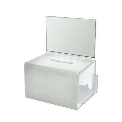 Extra Large Acrylic Lottery Box with Lock and Key, White