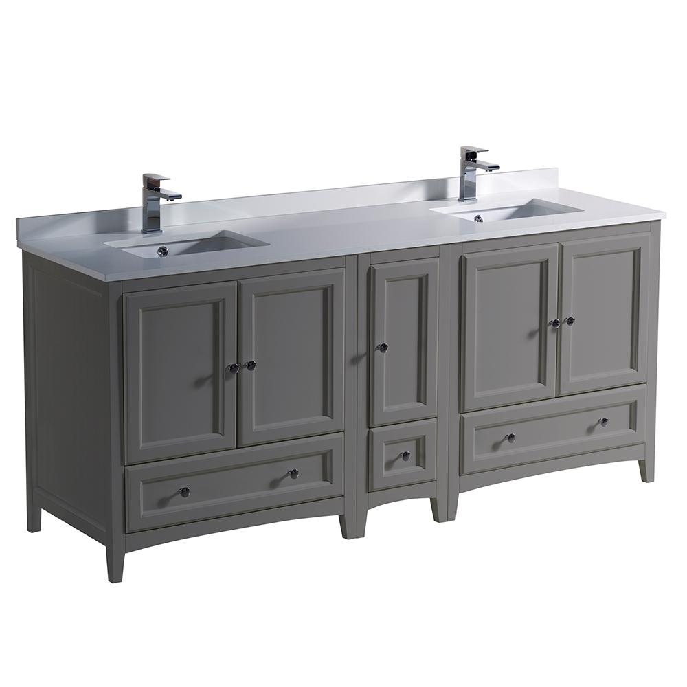 Enjoyable Fresca Oxford 72 In Traditional Double Bath Vanity In Gray With Quartz Stone Vanity Top In White With White Basins Interior Design Ideas Inesswwsoteloinfo