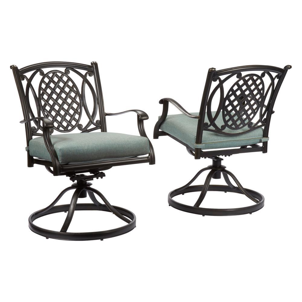 Hampton Bay Belcourt Swivel Rocking Metal Outdoor Dining Chair with ...