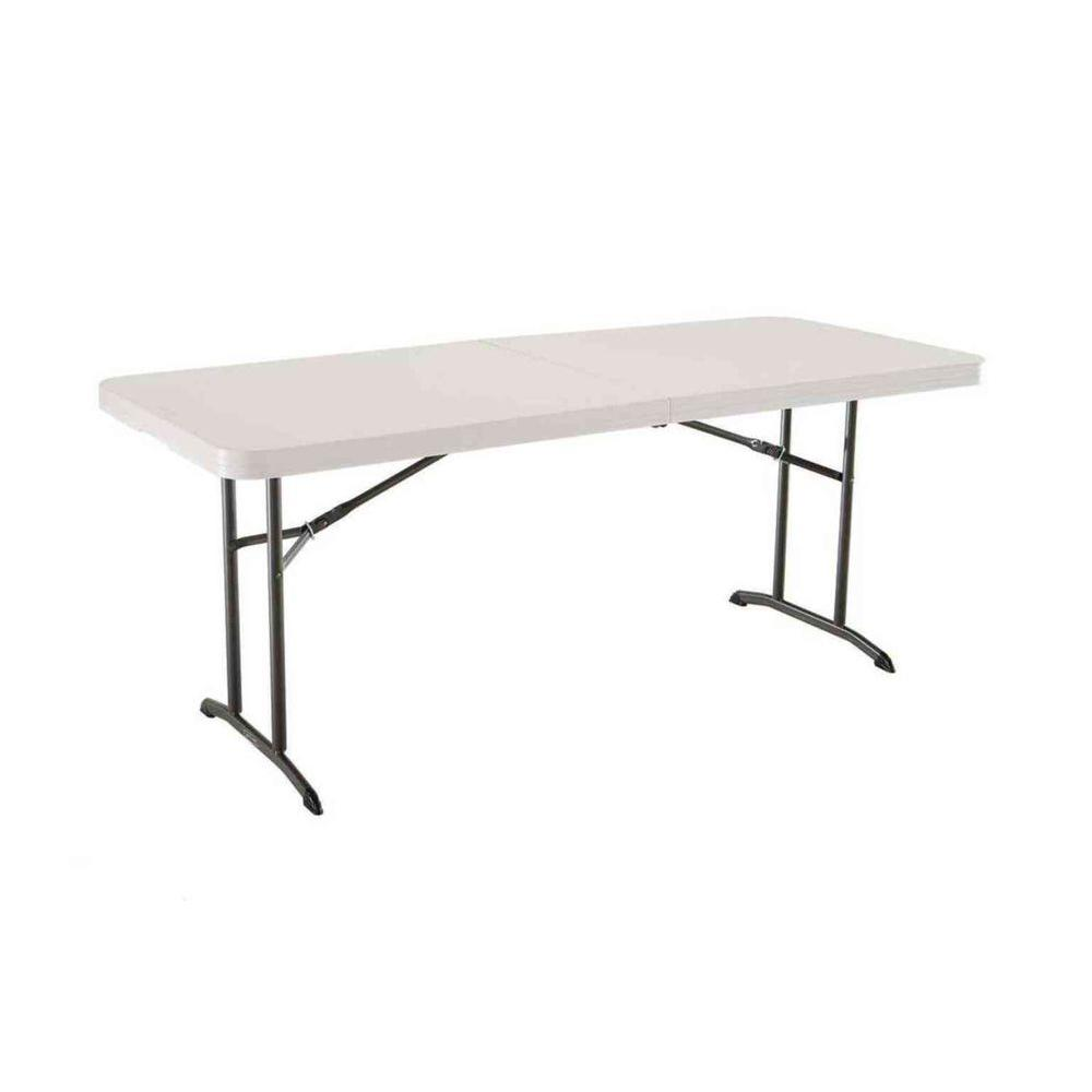 Lifetime 6 ft. Almond Commercial Fold-In-Half Table