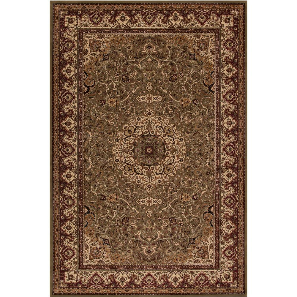 Concord Global Trading Persian Clics Isfahan Green 8 Ft X 11 Area Rug 20357 The Home Depot