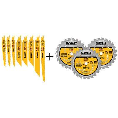 FLEXVOLT Reciprocating Saw Blade and 7-1/4 in. Circular Saw Blade Set (11-Pack)