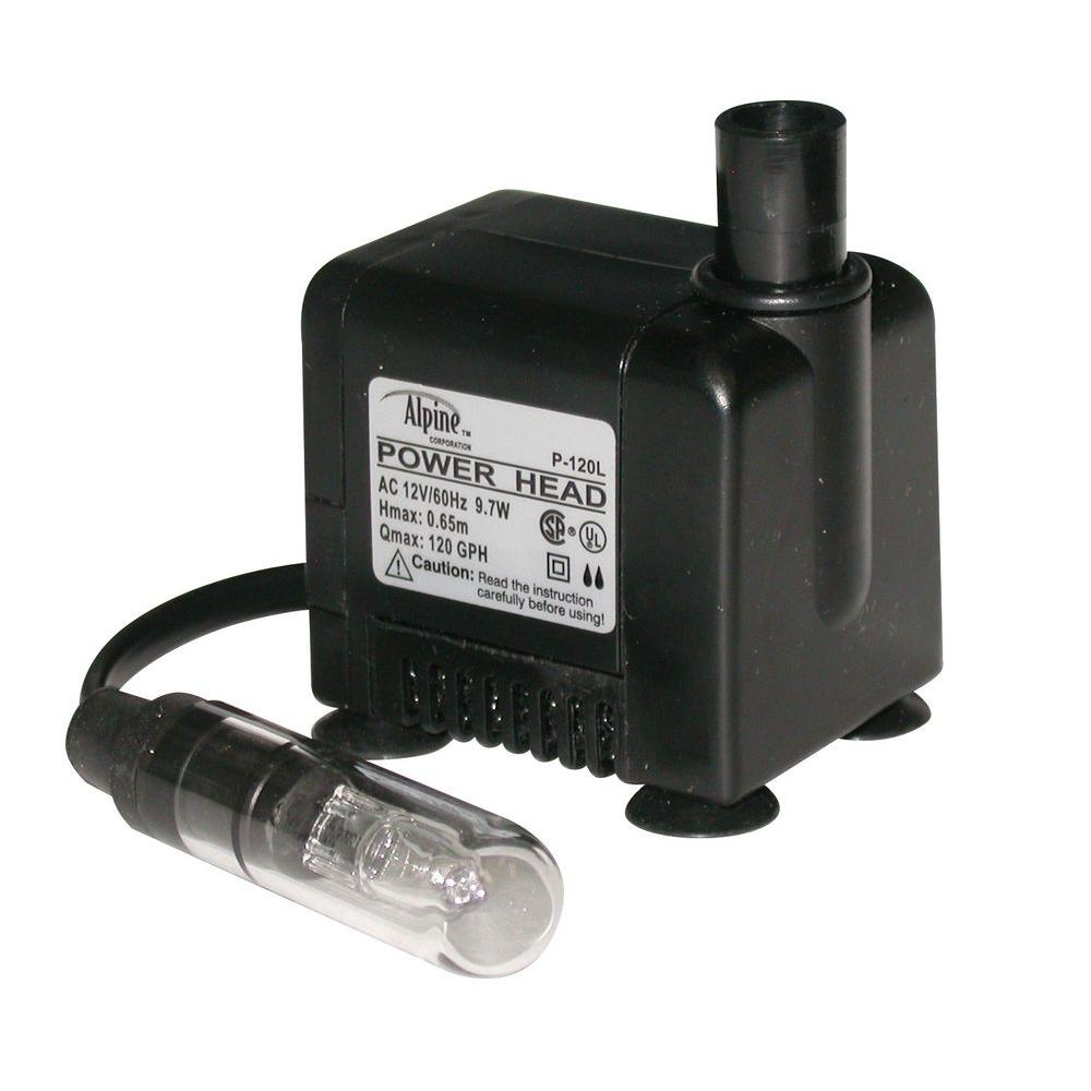 120 GPH Pump with 5-Watt Halogen Light