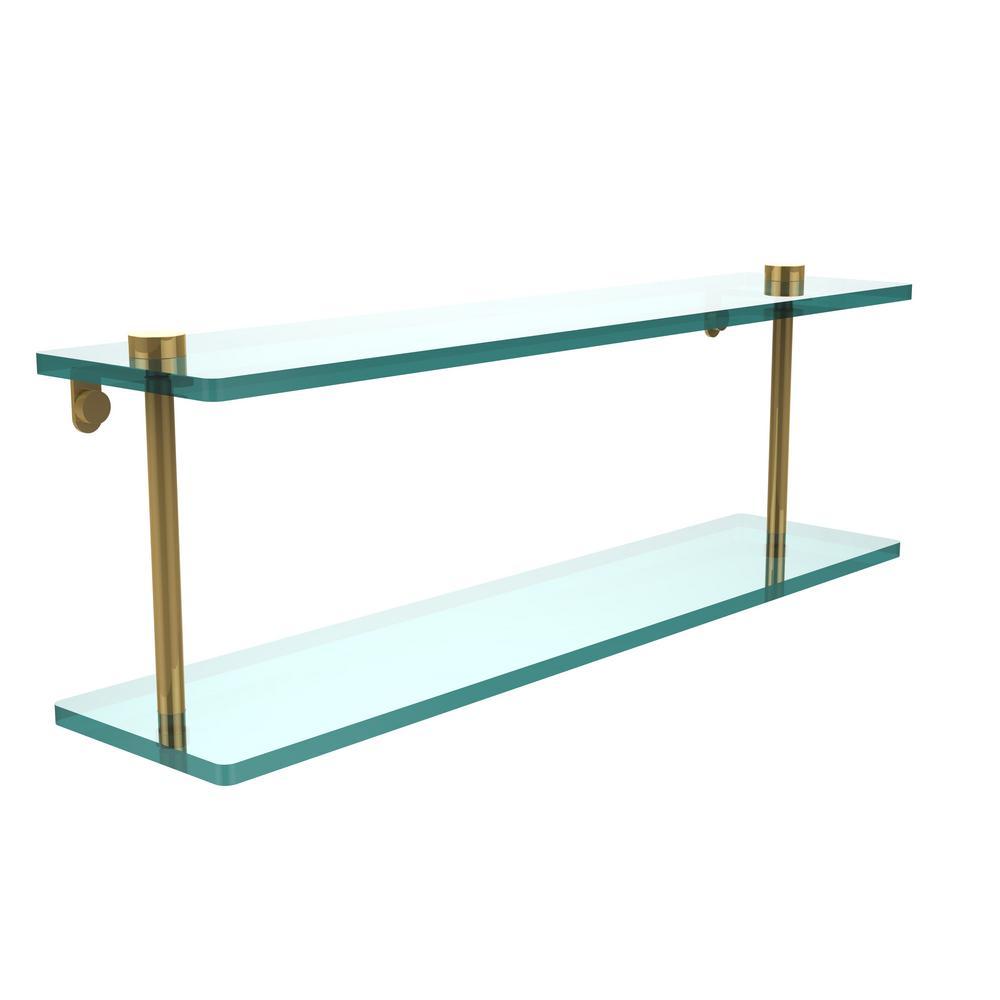 Allied Brass 22 in. L x 8 in. H x 5 in. W 2-Tier Clear Glass ...