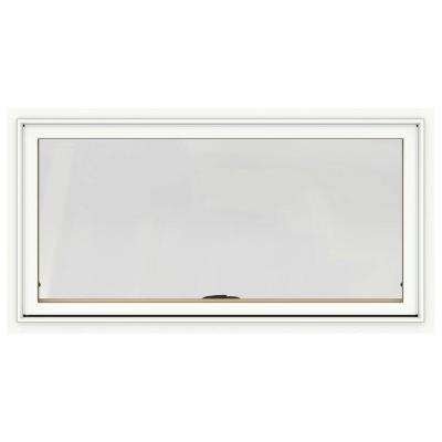 48 in. x 20 in. W-2500 Series White Painted Clad Wood Awning Window w/ Natural Interior and Screen