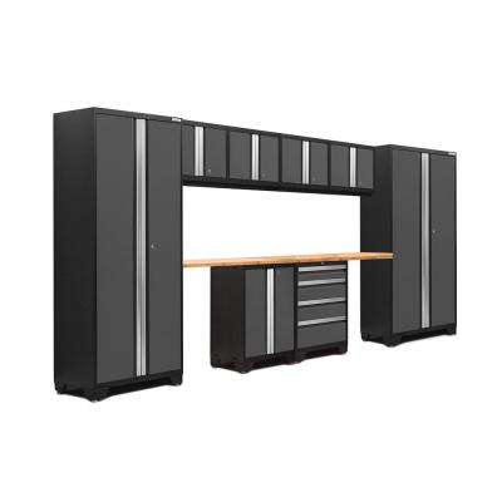 Bold 3 Series 156 in. W x 75.25 in. H x 18 in. D 24-Gauge Welded Steel Bamboo Worktop Cabinet Set in Gray (10-Piece)
