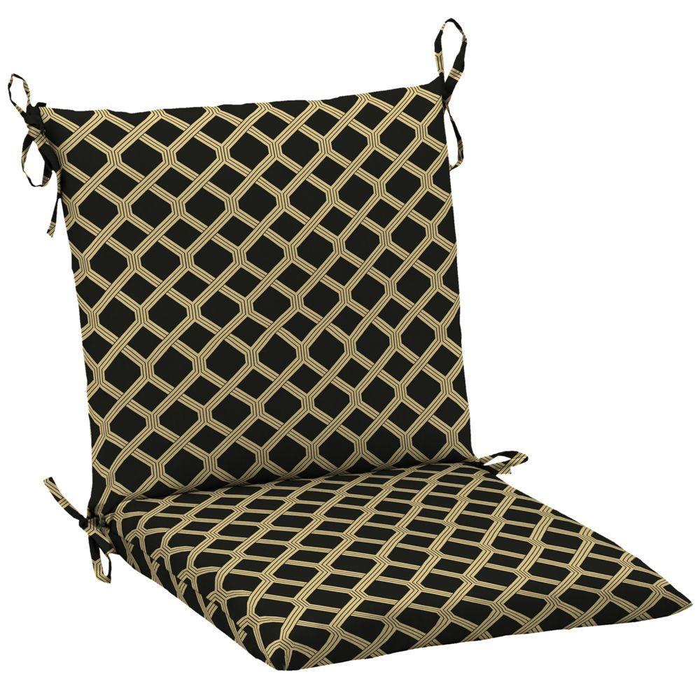 Hampton Bay Black Lattice Mid Back Outdoor Chair Cushion-DISCONTINUED