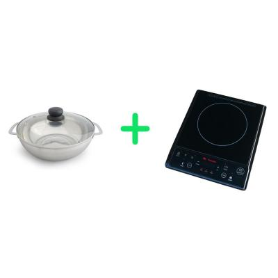 1300-Watts 7.5 in. Single Burner Induction Cooker (Black) with 3.5L Induction Ready Stainless Steel Pot w/ Glass Lid