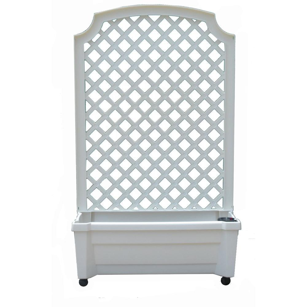 White Plastic Planter With Trellis And Water Reservoir