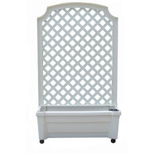 Calypso 31 inch x 13 inch White Plastic Planter with Trellis and Water Reservoir by