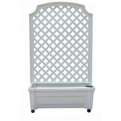 Calypso 31 in. x 13 in. White Plastic Planter with Trellis and Water Reservoir