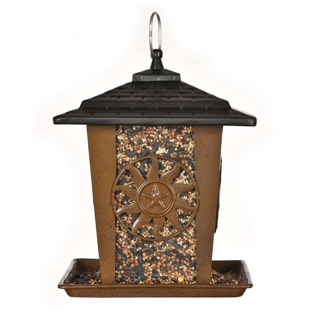 Perky-Pet Sun and Star Metal Brown Hopper Bird Feeder