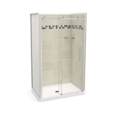 Utile Stone 32 in. x 48 in. x 83.5 in. Center Drain Alcove Shower Kit in Sahara with Chrome Shower Door