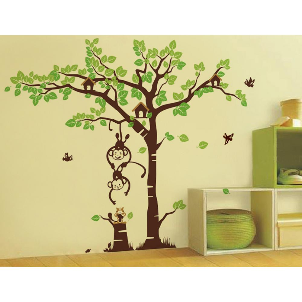 Pop Decors 123 in. x 83 in. Blowing in the Wind Tree Removable ...